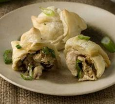 """""""Chicken"""" and mushroom puffs - I would tweak this a bit (I hate cream cheese, vegan or not) but the chick'n mushroom sage aspect sounds delightful.."""
