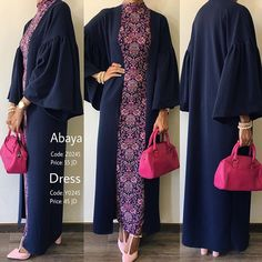 Dress: Sold Out! Abaya: Available . Dress with distinctive pattern and summer material and sleeveless coordinated with abaya - - Iranian Women Fashion, Islamic Fashion, Muslim Fashion, Modest Fashion, Fashion Dresses, Moslem, Mode Abaya, Hijab Fashionista, Hijab Fashion Inspiration