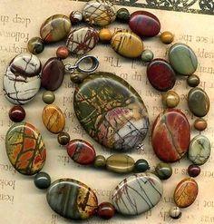 "Red Creek Jasper Beads Pendant Rounds Ovals 17"" Str Gorgeous Natural Color   eBay"