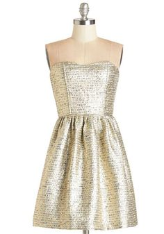 Shimmer Nights Dress. Tonight, even the spotlights cant compete with the splendor of the ear-to-ear grin thats brought on by wearing this gold dress! #gold #prom #modcloth