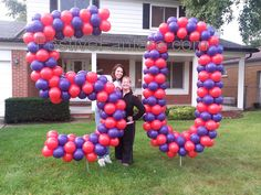 Large balloon numbers display on lawn