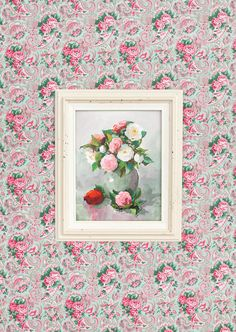 Vintage rose painting set on a backdrop of VM70 Shade from the Veranda collection by Verna Mosquera for FreeSpirit.