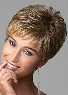 Short Pixie Cut Hair Wigs For Women Brown Blonde Mixed Color -- Continue to the product at the image link. (This is an affiliate link) Short Textured Haircuts, Modern Haircuts, Short Pixie Haircuts, Boy Haircuts, Wig Styles, Short Hair Styles, Pixie Color, Short Wedge Haircut, Medium Long Hair