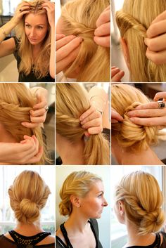 Prep your hair with a texturizer or volumizing mousse and add body by blowdrying with your fingers.  Create a soft, centre part where the hair breaks naturally.  Take a section of hair near your temple and twist away. Temporarily secure the end with a bobby pin as you do the same on the other side.  Pull your hair back, take out the bobby pins and finish off with a loose, low and messy texturized bun or chignon.   Slip in a couple of bobby pins and spritz with shine spray and hairspray to…