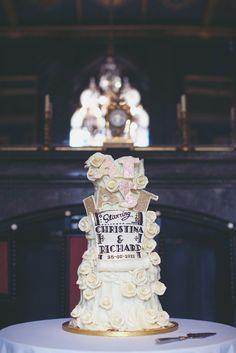 Elaborate 1940s Vintage Castle Wedding: Christina  Richard Cake, Old Hollywood