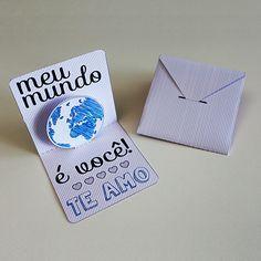"""DIY: Cartão """"Meu mundo é você!"""""""