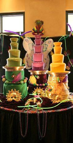 MardiGras-theme chocolate fountains!!!