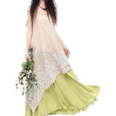 Китайский Стиль Винтаж Цветочные Платья Зеленый Белый Женщины Мода Вышивка Этническом Стиле Поддельные Twinset Большой Хем Свободные Платья купить на AliExpress