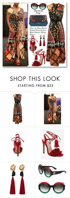 """""""Street Style Tribal Print Wrap Dress"""" by jecakns ❤ liked on Polyvore featuring MANGO, Gucci and Paula Cademartori"""