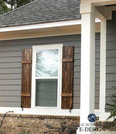 Exterior Gray Paint, Exterior Paint Colors For House, Paint Colors For Home, Brown Brick Exterior, Exterior Wood Shutters, Exterior Paint Ideas, Siding Colors For Houses, Exterior Trim, Grey Homes Exterior