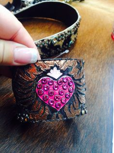 Custom leather cuffs by designer: Kippy's https://www.facebook.com/pages/Silver-Sensations-Chic-Couture/120124394666886