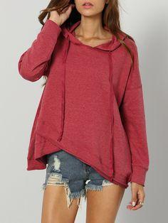 Rose Red Hooded Long Sleeve Sweatshirt