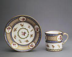 Cup with a Saucer, Sevres 1780. Painter: Commelin, Michel-Gabriel. 1768-1802; Painter: Chauvaux, Jean, le jeune. 1735s-1807 - Hermitage Museum