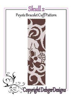 Skull 2 - Beaded Peyote Bracelet Cuff Pattern | DebgerDesigns - Patterns on ArtFire