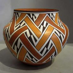 Information about Acoma Pueblo potter Robert Patricio with photos of some of his Acoma pottery Hand Painted Pottery, Painted Pots, Pottery Painting, Pottery Vase, Native American Pottery, Native American Art, Southwest Pottery, Pueblo Pottery, Mexica