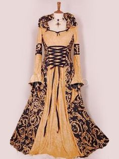 563fc764a6 Halloween Renaissance Dress Polyester Medival Yellow Costume Cosplay  Halloween