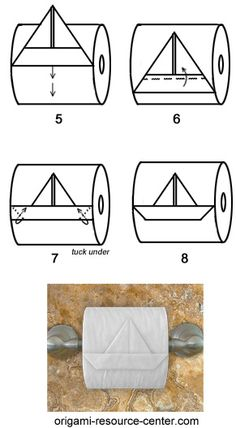 Papier Learn to make a toilet paper origami boat where the boat is still attached to th . Origami Boot, Toilet Paper Origami, Toilet Paper Roll, Paper Oragami, Towel Origami, Napkin Folding, Paper Folding, Paper Art, Paper Crafts