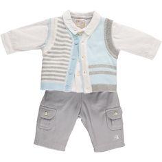Emile et Rose Style 9496 'Frasier' Pale Blue, White & Grey Boys Smart Set Spanish Baby Clothes, Smart Set, Fall Winter, Autumn, Rose, Shirt Dress, Grey, Mens Tops, Shirts