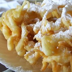 State Fair Funnel Cake: large cup Sugar 2 cups milk 3 cups Flour teaspoon Salt 2 teaspoon Baking Powder Vegetable oil Instructions: Beat eggs and sugar together and then add the milk slowly--. Köstliche Desserts, Delicious Desserts, Yummy Food, Funnel Cake Ingredients, State Fair Funnel Cake Recipe, Funnel Cake Recipe Easy, Churros, Fudge, Cakes For Sale