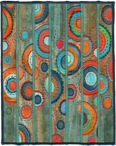 Patina, contemporary abstract textile. Complementary colors:  red-orange and blue-green.