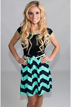 Black Mint Chevron Belted Dress