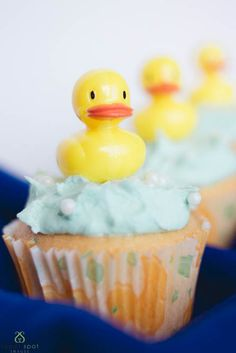 Baby Shower Vanilla Cupcakes Oh yes! Rubber ducky on a cupcake! #CakeDecorating greatness! we love these!