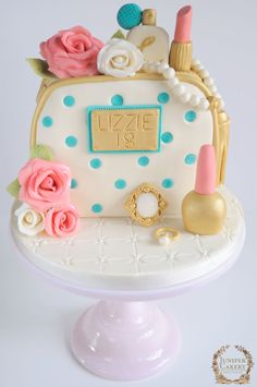 Roses, Cosmetics and Jewels Birthday Cake by Juniper Cakery