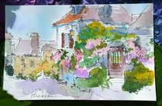Watercolor Postcard in France Artist Dreama Tolle Perry