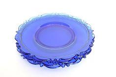 Vintage Cobalt Blue Depression Glass Plates by HappyFortuneVintage