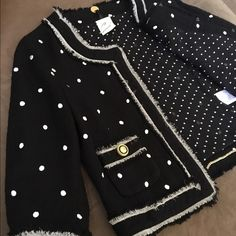 Soareah wool jacket Soareah wool jacket with Polka dots, chiffon lining embelished with gold chain.size 2 Made in Japan. In great condition. Gives one  a very sophisticated look paired with black heels....ooh lalah💥💋 Soareah Jackets & Coats