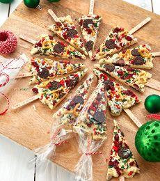 Cadbury Chocolate Bark Christmas Tree Pops Recipe
