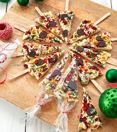 Cadbury Chocolate Bark Christmas Tree Pops Recipe