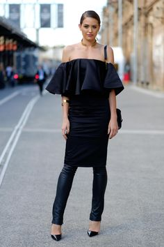 How to Layer a Skirt Over Pants or a Dress - off the shoulder feminine ruffle dress layered over slim leather pants—gorgeous!