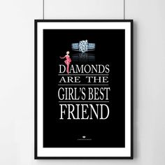 Diamonds Are The Girl's Best Friend Art Print Please note our framed prints DO NOT Include a white border / mount / mat        around the image.  We use Premium Quality Inkjet Heavyweight Satin Paper which gives a sharp, crisp, clear look to all of our artworks. Its heavier weight gives it that 'professional' feel.  Please remember that computer monitors vary. Colors and contrast may slightly differ.There also might be a slight difference between the colors seen on your monitor and the…