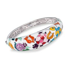 Belle Etoile .50 ct. t.w. CZ \'Galapagos\' Bangle Bracelet With Enamel in Sterling Silver. 7""