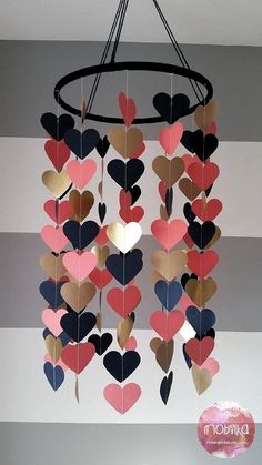 Heart shape paper mobile Navy coral and gold Baby room decoration Wedding decora. - Heart shape paper mobile Navy coral and gold Baby room decoration Wedding decoration Baby shower Ch - Coral Y Oro, Coral And Gold, Navy Gold, Diy Décoration, Easy Diy, Fun Diy, Baby Shower Decorations, Wedding Decorations, Decor Wedding