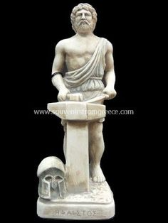 Hephaestus was the Greek god of blacksmiths, sculptors, metallurgy, fire and volcanoes; thus, he is symbolised with a hammer, an anvil and a pair of tongs. According to Homer's epics, the Iliad and the Odyssey, he was the son of Zeus and Hera. However, Hesiod informs us that Hera bore Hephaestus alone.