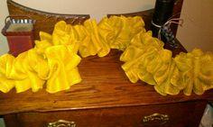 Mustard color burlap garland.