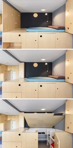 This lofted bed makes it possible to add extra storage to the apartment, but with this design, they are able to lift it up to reveal a small walk-in wardrobe underneath.