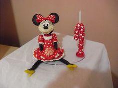 topo de bolo Minnie vermelha c velinha