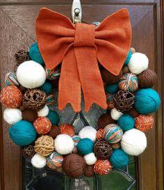 Brown, Burnt Orange, Teal and Cream Autumn Yarn Ball Wreath with Burnt Orange Burlap Bow by ArtsieAni on Etsy