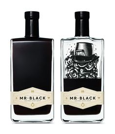 Mr. Black – Cold press coffee liqueur bottle design by United Creatives // glass / alcohol / label