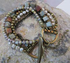 Multiple Strand Womens Bracelet Antique Brass by ToZenAndBack