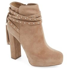 "Jessica Simpson 'Marguerit' Tassel Bootie, 4 3/4"" heel found on Polyvore featuring shoes, boots, ankle booties, ankle boots, sapatos, botas, dakota tan suede, platform booties, tan booties and chunky heel ankle boots"