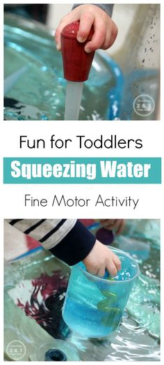 Looking for a fun way to strengthen toddler fine motor skills? Here's a fun water activity using basters!