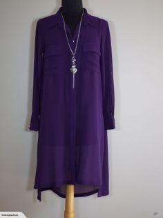 Lemon Tree | Purple Longline Shirt (1012*) | Trade Me Long A Line, Fashion Outfits, Womens Fashion, Duster Coat, That Look, Lemon, Tunic Tops, Purple, Jackets
