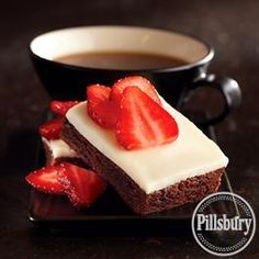White Chocolate Ganache Brownies with Strawberries from Pillsbury® Baking