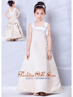 Custom Made Champagne A-line Square Bows Flower Girl Dress Ankle-length Taffeta- $87.65  http://www.fashionos.com  http://www.facebook.com/quinceaneradress.fashionos.us   It features straps with a bow on the left chest. The A-line gown was made from satin and the back of the skirt was decorated with 2 bows, which looks so pretty. This is surely a best choice for any occasion. A zipper up in the back secures the dress in place.