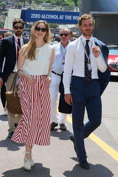 Pierre Casiraghi and Beatrice Borromeo attend the Monaco Formula 1 Grand Prix at the Monaco street circuit, on May 28, 2017 in Monaco.