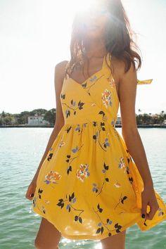 Tendenze moda estate 2019 idee di tendenza is part of Flirty dresses - UO Pippa Halter Mini Dress Urban Outfitters Image source Christian Wedding Gowns, Cute Dresses, Short Dresses, Floral Dresses, Dress Long, Elegant Dresses, Cute Yellow Dresses, Maxi Dresses, Denim Dresses